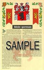 KLEIN Armorial Name History - Coat of Arms - Family Crest GIFT! 11x17