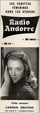 ▬► PUBLICITE ADVERTISING AD RADIO ANDORRE Carmen Gravina 18 Avril 1965