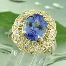 14k Solid Rose Gold Natural Diamond & AAA Oval Cut Tanzanite Ring 5.58  ct