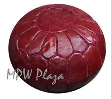 MPW Plaza Pouf, Garnet Red, Moroccan Leather Ottoman (Un-Stuffed)