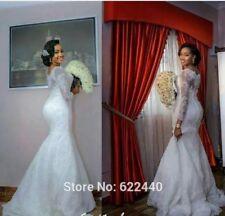 UK Off Shoulder White/ivory Lace Mermaid Lace Wedding Dress  Size 6-16