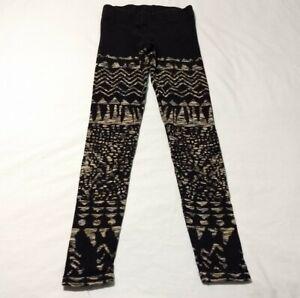 Free People Black Beige Patterned Leggings Size S
