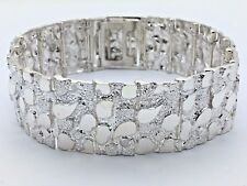 "925 Sterling Silver Solid Nugget Bracelet Adjustable 8.25"" 21mm 51.5grams"