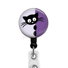Black Cat Badge Reel, Retractable ID Name Clip Holder of Kitty Purple Background
