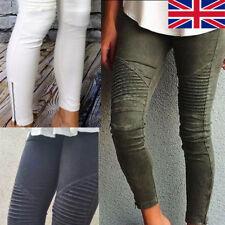 Women High Waist Slim Skinny Pencil Pants Stretch Jeans Ripped Trousers Leggings