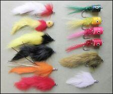 Pêche brochet mouches pare-chocs Pack - 12 au total-mélangé Tailles 2/0 et 1/0