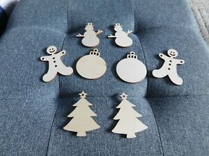 CHRISTMAS EMBELLISHMENT CLEAROUT - 8 WOOD CHRISTMAS SHAPES 🇬🇧 UK 🌲🎅🌲🎅🌲🎅