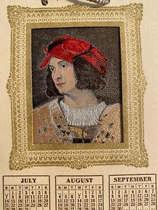 1957 Woven Greeting Calendar Warner-Artex Titian Portrait of Man In Red Cap NYC