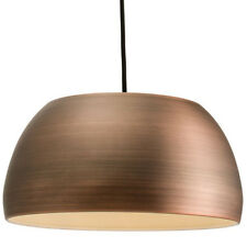 Hanging Ceiling Pendant Light –MATT BRONZE– Round Metal Lamp Shade Bulb Holder