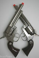 Metal Silver Cap Guns PAIR OF 2 BRAND NEW PistolS Made in Spain Metal Toy 10015