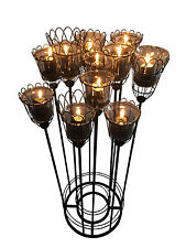 Großer Kerzenständer für Stumpenkerzen & Teelichter aus Metall & Glas - 90 cm