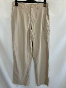 Columbia PFG Mens Fishing Cargo Pants Beige Mesh Lined Flap Pockets 34 X 30