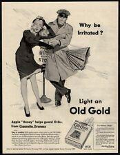 1945 OLD GOLD Cigarettes - Bus Driver - Pretty Woman - Umbrella VINTAGE AD