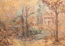 Vintage wc painting landscape impressionism