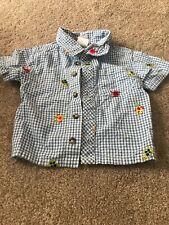 Boys Button Down Short Sleeve Blue Gingham Shirt, Sea Creatures, 6-9 Months