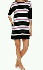 DKNY Jersey Modal Long Sleepshirt Nightgown Pink Black White Stripe Small