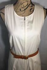 Theory Womens Aline Dress Cotton Leather Belt Sleeveless Zip-up Pockets Khaki M