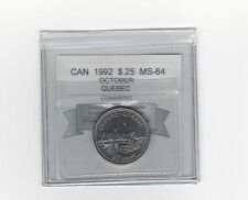 **1992 October, Quebec** Coin Mart Graded Canadian,25 Cent, **MS-64**