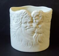 Ceramic Father Christmas with Child Planter Candy Cane Holder
