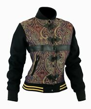 Homme Mode Bomber Paisley Veste Denim Jean manteau Blouson Pour Femme Noir F