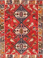 "Antique Geometric Bird Design 4x6 Shiraz Persian Oriental Area Rug 5' 5"" x 3' 11"