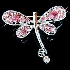 w Swarovski Crystal Rose Pink DRAGONFLY Bridal Wedding Prom Party Pin Brooch New