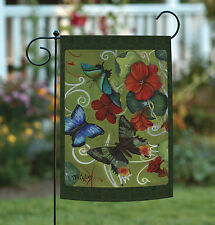 Toland Butterflies and Flowers 12.5 x 18 Red Flower Spring Butterfly Garden Flag