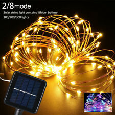 100/200 LED Solar Fairy String Lights Copper Wire Outdoor Waterproof Strip Light