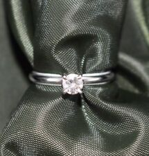 Diamond Engagement Ring Solitaire 14k White Gold 0.40 TCW Round Diamond Sz 6.25