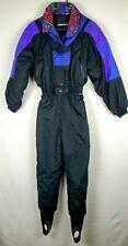 Vintage Women's Edelweiss Ski Suit Black Purple One Piece Nylon Size 10 Retro