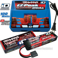 Traxxas EZ-PEAK DUAL Charger 2972 and (1) 2872X 11.1v 5000mAh LiPO, 2017 RAPTOR
