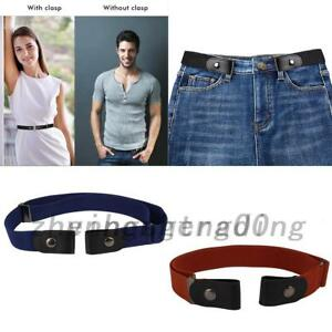 Women/Men Buckle-free Stretchy Elastic Leather Waist Belt Waistband 3 colors