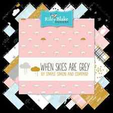 """When Skies Are Grey 10"""" Fabric Squares, Simple Simon & Co, Riley Blake, 42 pcs"""