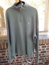POLO RALPH LAUREN Light Blue 1/4 Zip Long Sleeve Sweat Shirt Sweater Size XL