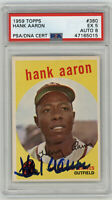 1959 BRAVES Hank Aaron signed card Topps #380 PSA/DNA AUTO 8 Autographed PSA 5