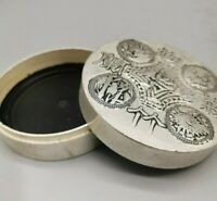 "3"" Collect tibet Silver copper carved flower Brush cartridge ink case round box"