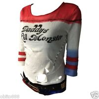 Harley Quinn Ripped T-shirt Daddy's Lil Monster Suicide Squad Cosplay Costume