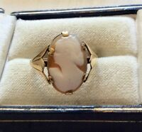 Lovely Ladies Early Vintage 9 Carat Gold Cameo Ring - Size O 1/2
