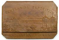 1876 PA PHILADELPHIA MACHINERY HALL WOODEN MEDAL, GEM UNC DETAILS!