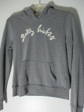 GILLY HICKS Sydney Gray shearling Hoody button Sweatshirt front pockets Size S