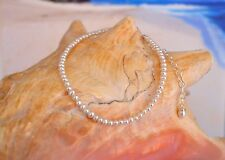 "White Freshwater Cultured Seed Pearl & .925 Silver Ankle Bracelet 9"" to 11"""