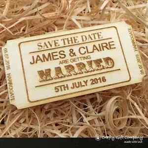 Personalised Save the Date ticket wedding wood vintage