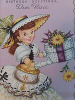 1950s Vtg LADY Dress Hat Box PURSE Gloves Embossed NIECE BIRTHDAY GREETING CARD