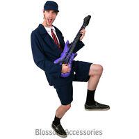 CSW10 Mens 80s Rocker School Boy Angus AC DC Costume Fancy Dress Party Outfit