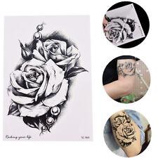 BLACK Rose Fiore Adesivi Tatuaggi Temporanei Corpo 3D Rose Tatuaggi IMPERMEABILE