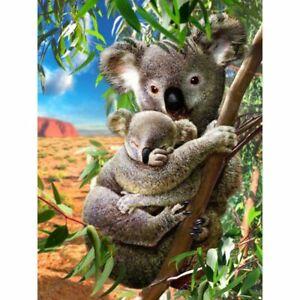 5D Round Diamond Painting Cross Stitch Kits Mural Decor Craft DIY Two Koalas
