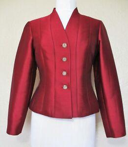 Vintage Rickie Freeman Teri Jon Suit Jacket 4 Women cranberry red silk blend