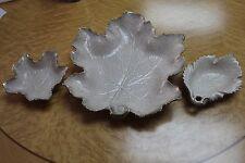 California Original Pottery 719 727 738 Leaf Large Dish &  2 Sml Candy BeigeGold