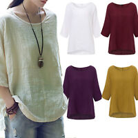 Women Ladies 3/4 Sleeve Cotton Linen Plain Casual T-Shirt Tops Blouse Plus Size