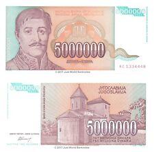 YOUGOSLAVIE 5 Millions Dinara 1993 P-132 billets UNC